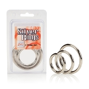 Silver Cock Rings 3 Piece Set
